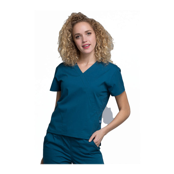 Cherokee Workwear Top WW Professionals Mock Wrap Top Caribbean Blue Top
