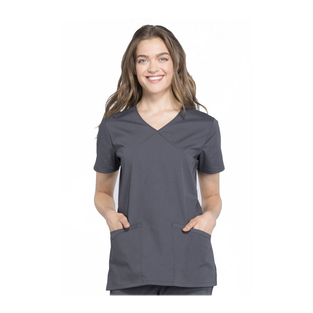 Cherokee Workwear Top WW Professionals Mock Wrap Top Pewter Top