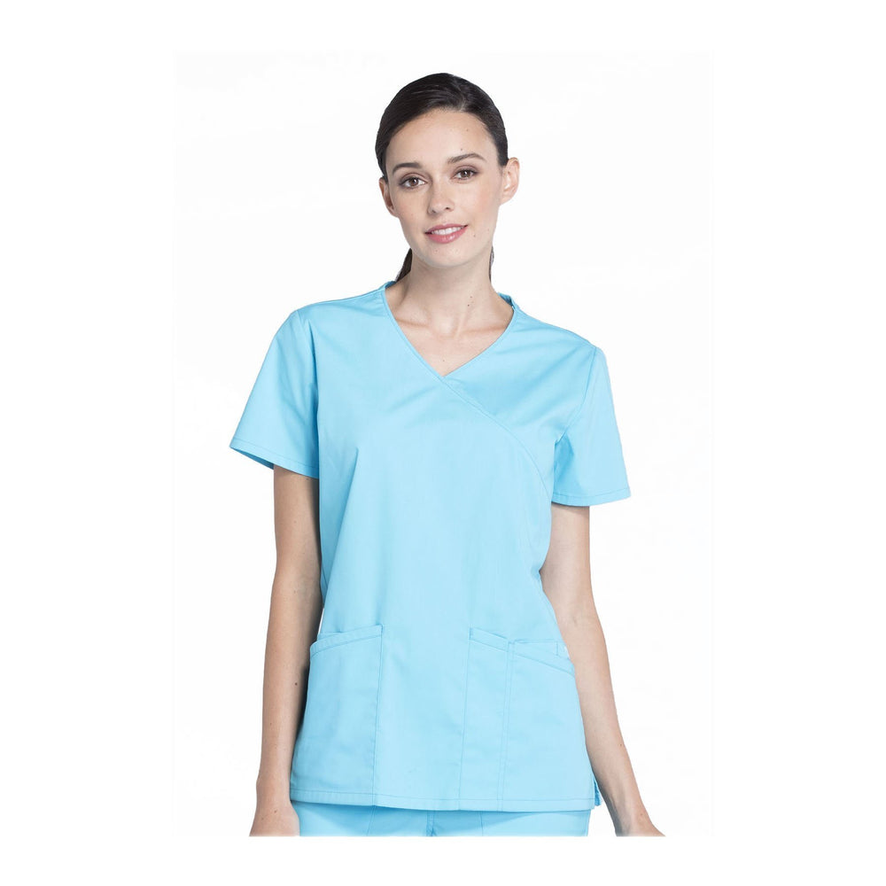 Cherokee Workwear Top WW Professionals Mock Wrap Top Turquoise Top