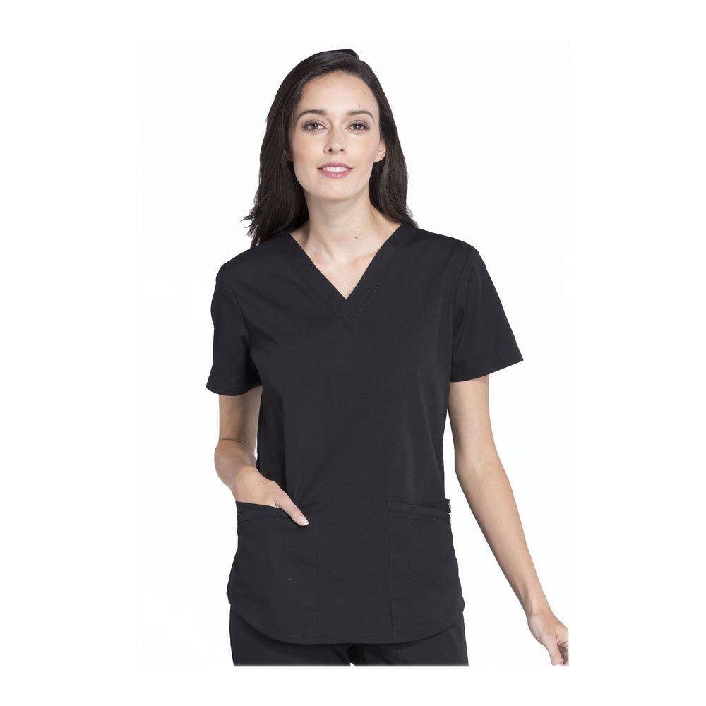 Cherokee Workwear Top WW Professionals V-Neck Top Black Top