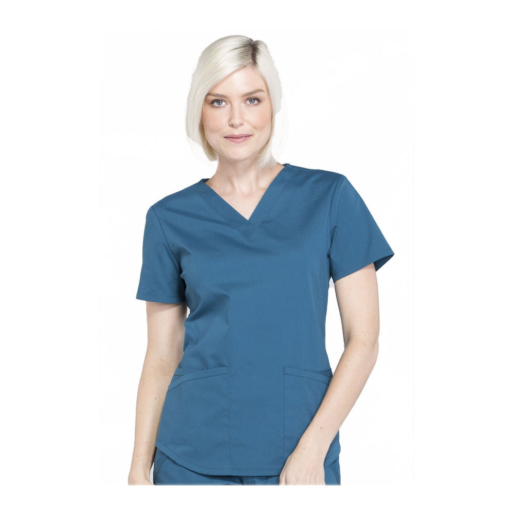 Cherokee Workwear Top WW Professionals V-Neck Top Caribbean Blue Top