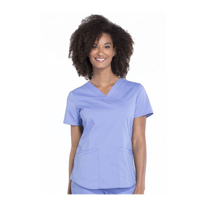 Cherokee Workwear Top WW Professionals V-Neck Top Ciel Blue Top