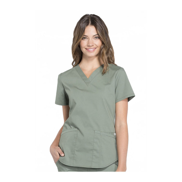 Cherokee Workwear Top WW Professionals V-Neck Top Olive Top