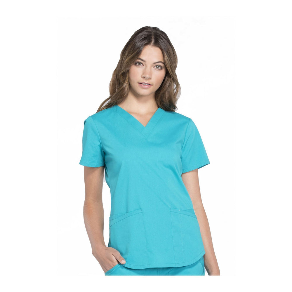 Cherokee Workwear Top WW Professionals V-Neck Top Teal Top