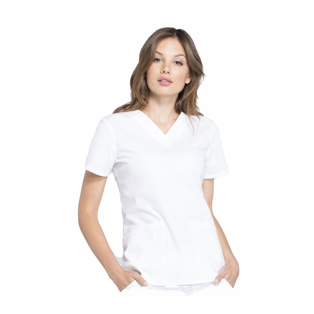 Cherokee Workwear Top WW Professionals V-Neck Top White Top