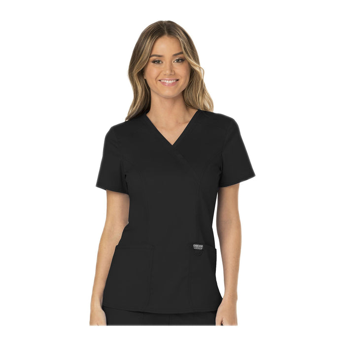 Cherokee Workwear Top WW Revolution Mock Wrap Top Black Top