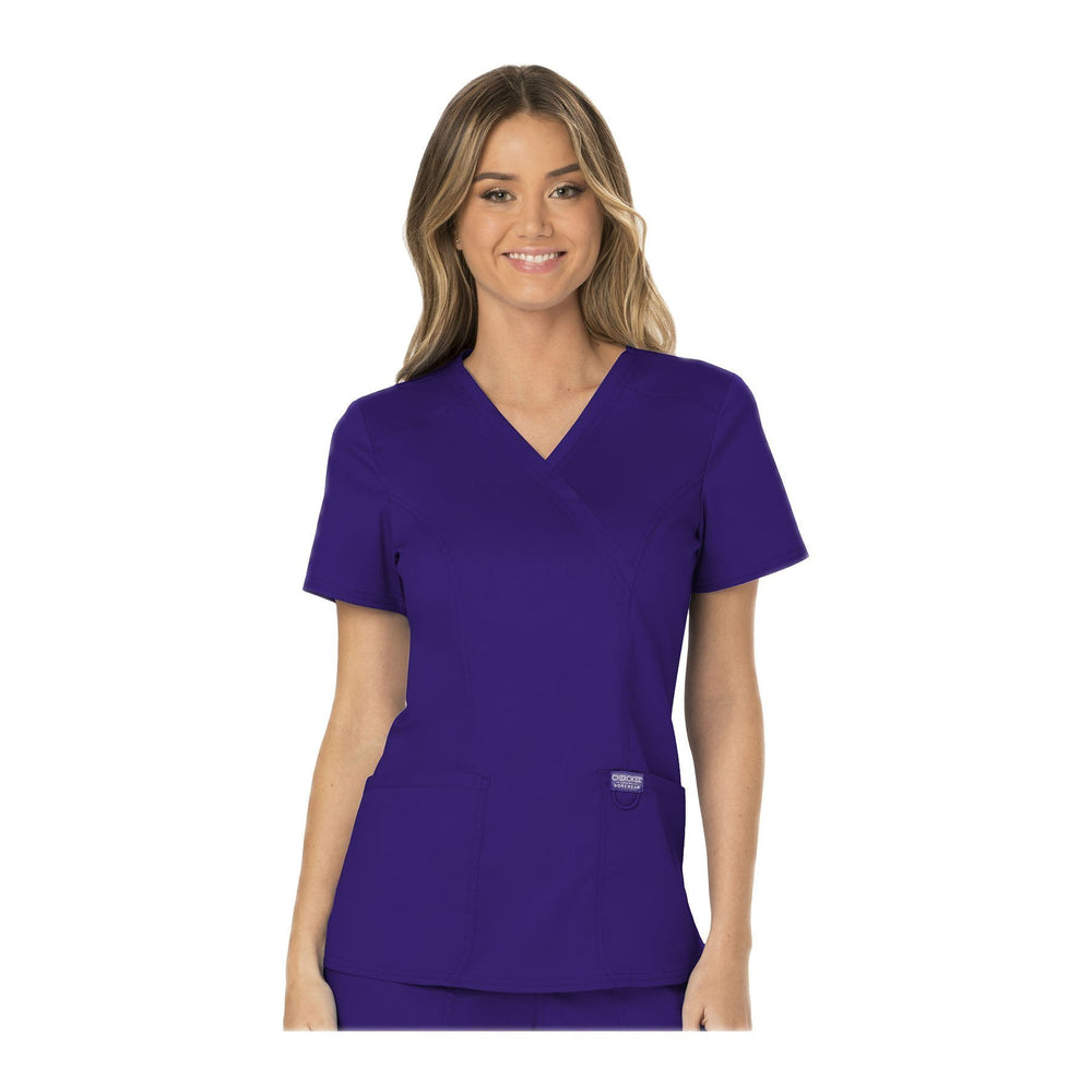 Cherokee Workwear Top WW Revolution Mock Wrap Top Grape Top