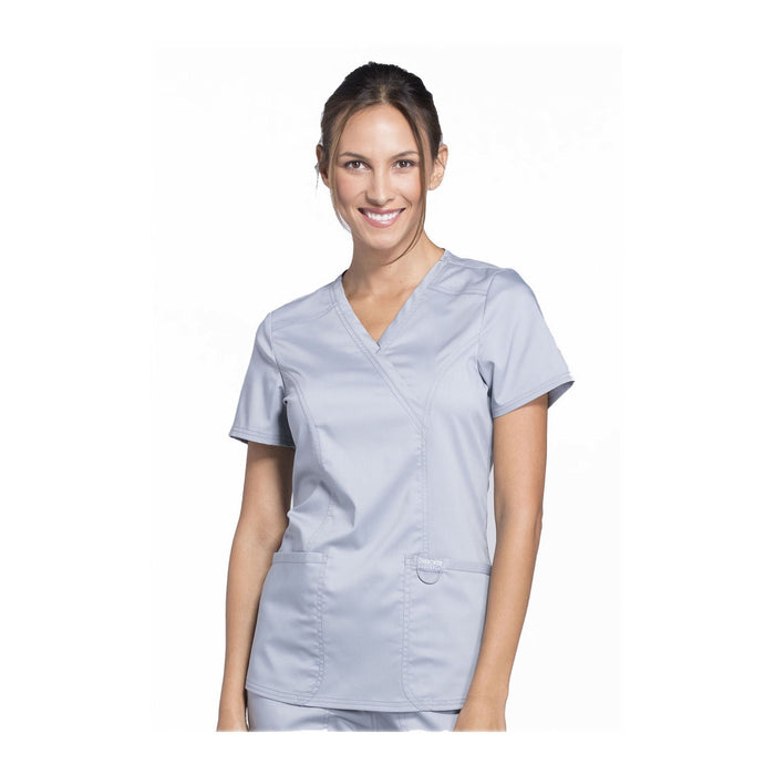 Cherokee Workwear Top WW Revolution Mock Wrap Top Grey Top