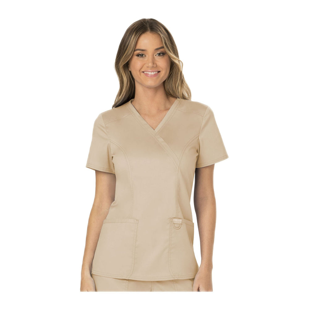 Cherokee Workwear Top WW Revolution Mock Wrap Top Khaki Top