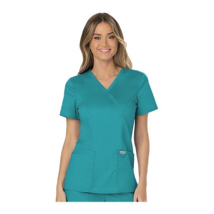 Cherokee Workwear Top WW Revolution Mock Wrap Top Teal Top
