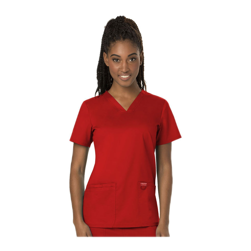 Cherokee Workwear Top WW Revolution V-Neck Top Red Top