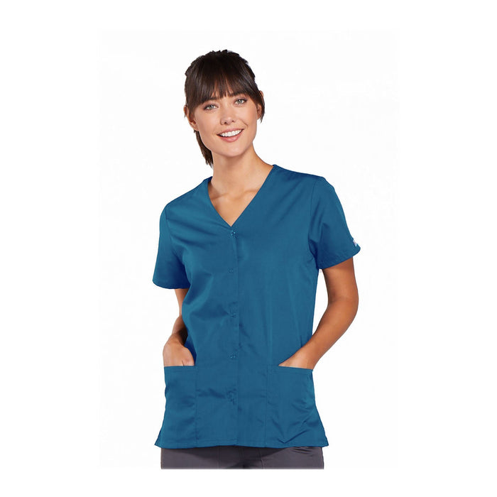 Cherokee Workwear Top WW Snap Front V-Neck Top Caribbean Blue Top