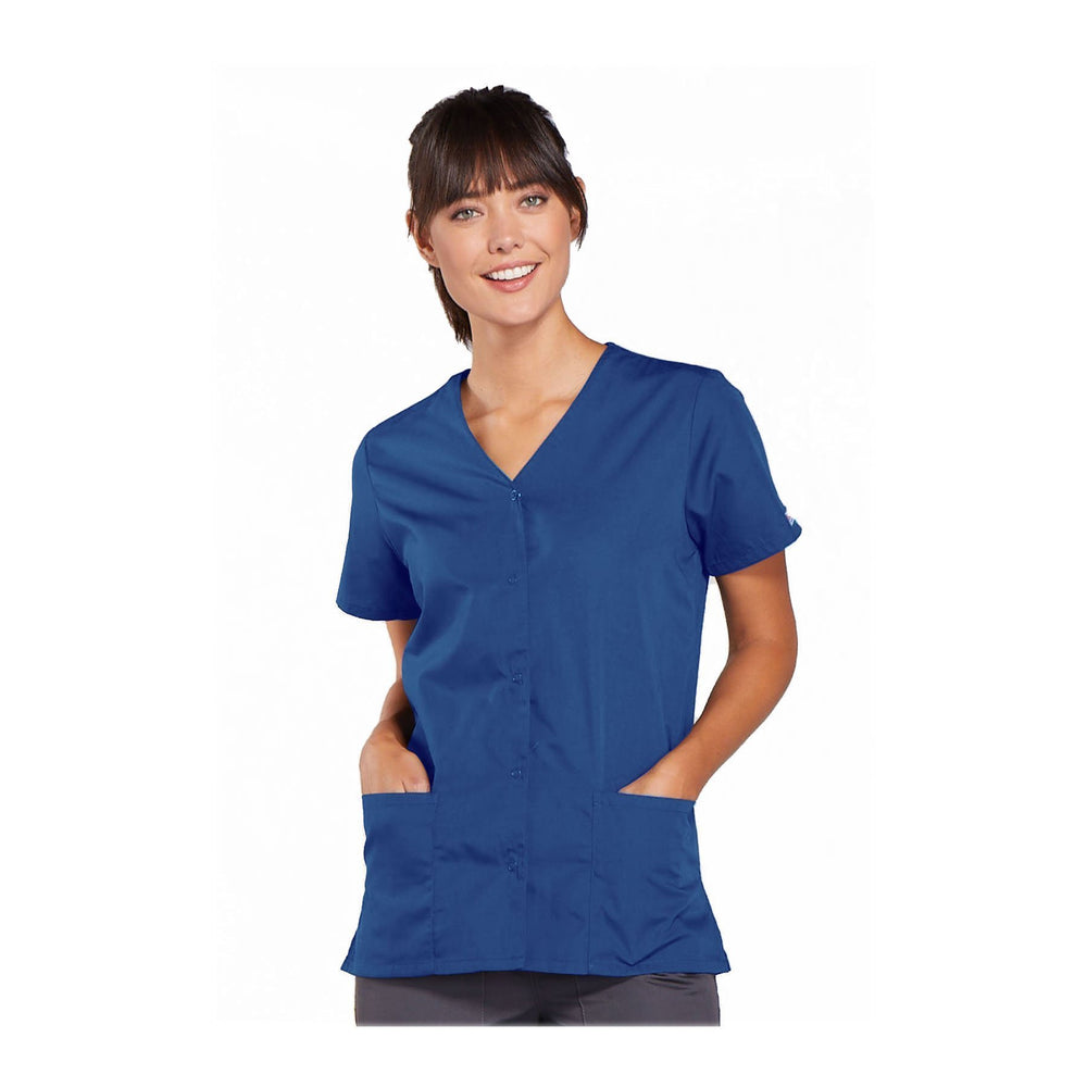 Cherokee Workwear Top WW Snap Front V-Neck Top Galaxy Blue Top