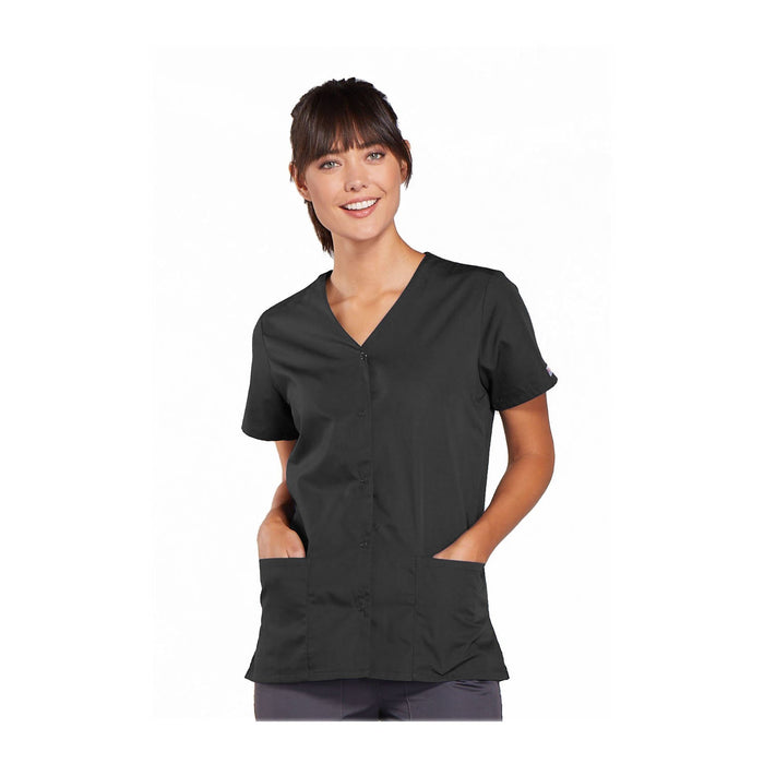 Cherokee Workwear Top WW Snap Front V-Neck Top Pewter Top