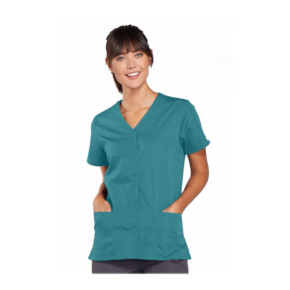Cherokee Workwear Top WW Snap Front V-Neck Top Teal Top