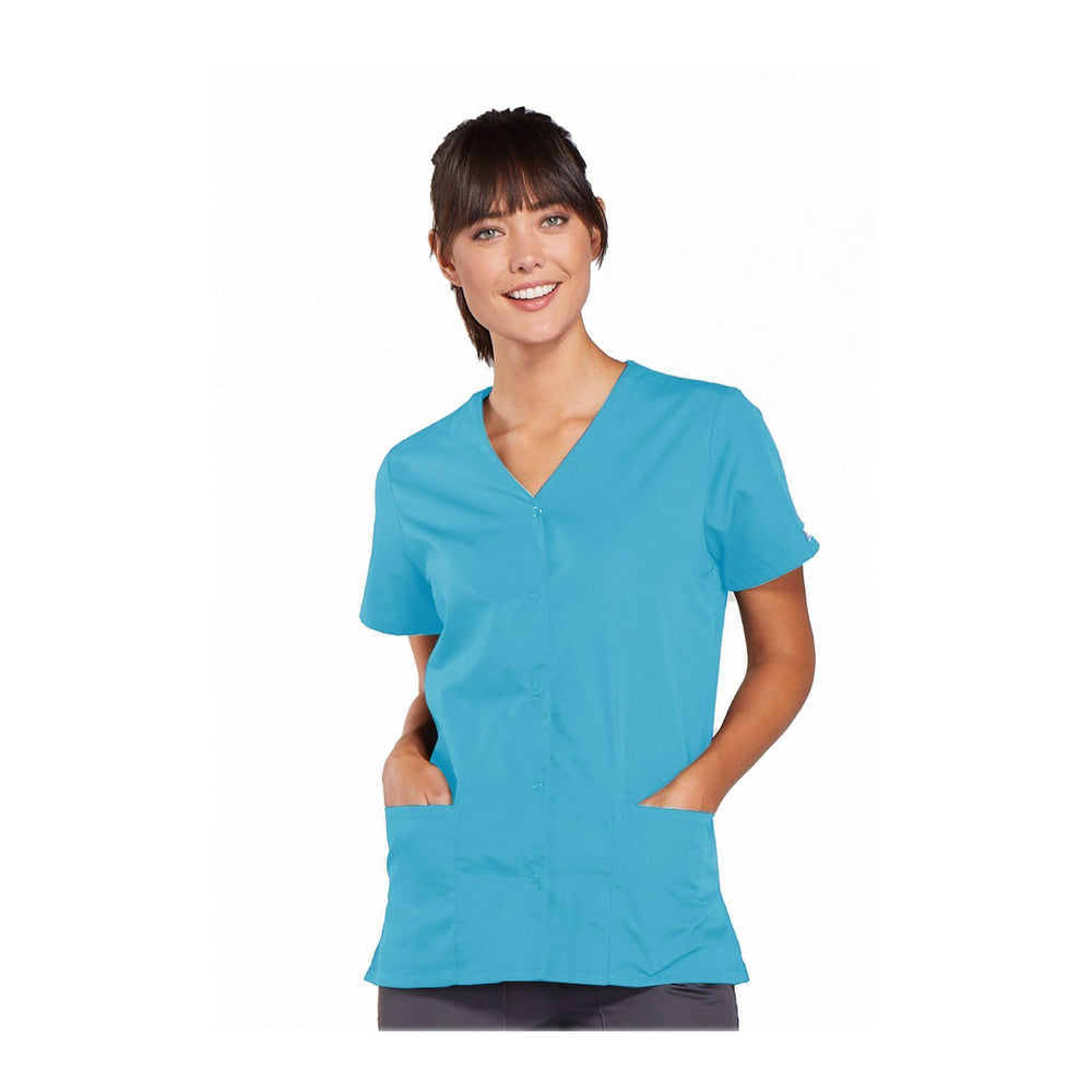Cherokee Workwear Top WW Snap Front V-Neck Top Turquoise Top