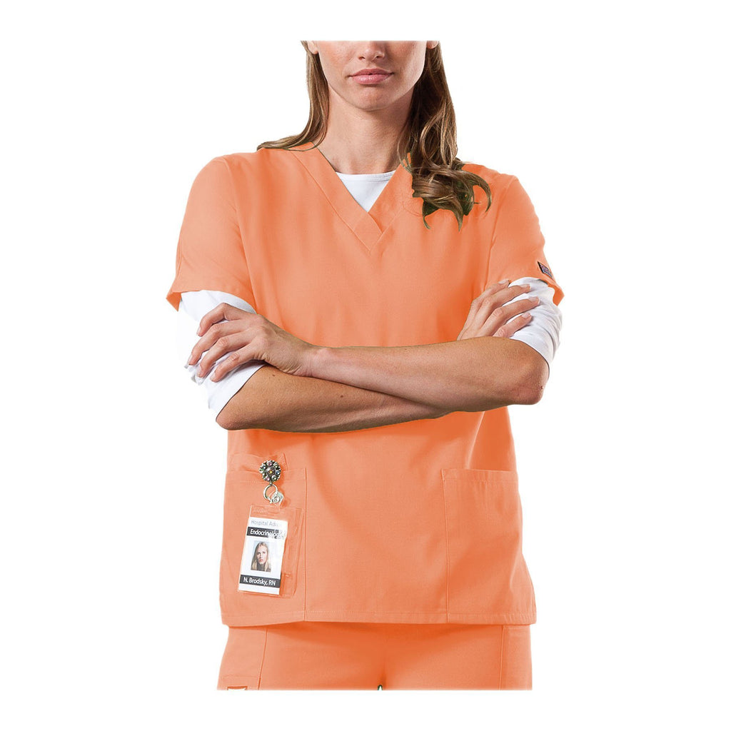 Cherokee Workwear Top WW V-Neck Top Orange Sorbet Top