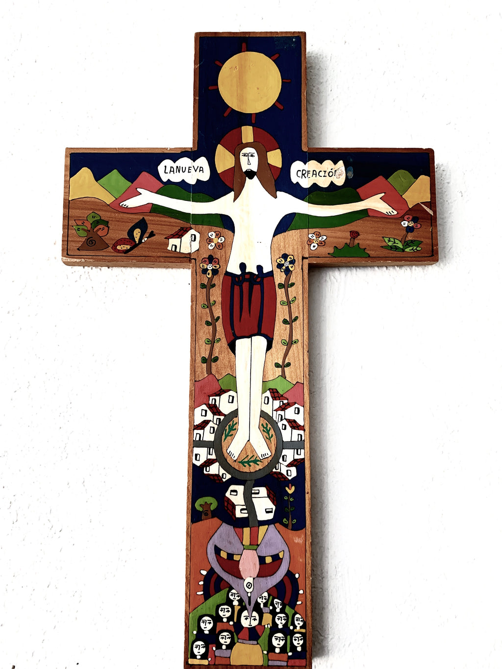 Hand Painted Folk Art Cross