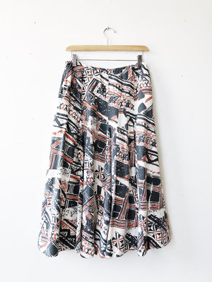Patterned Silk and Cotton Twirl Skirt