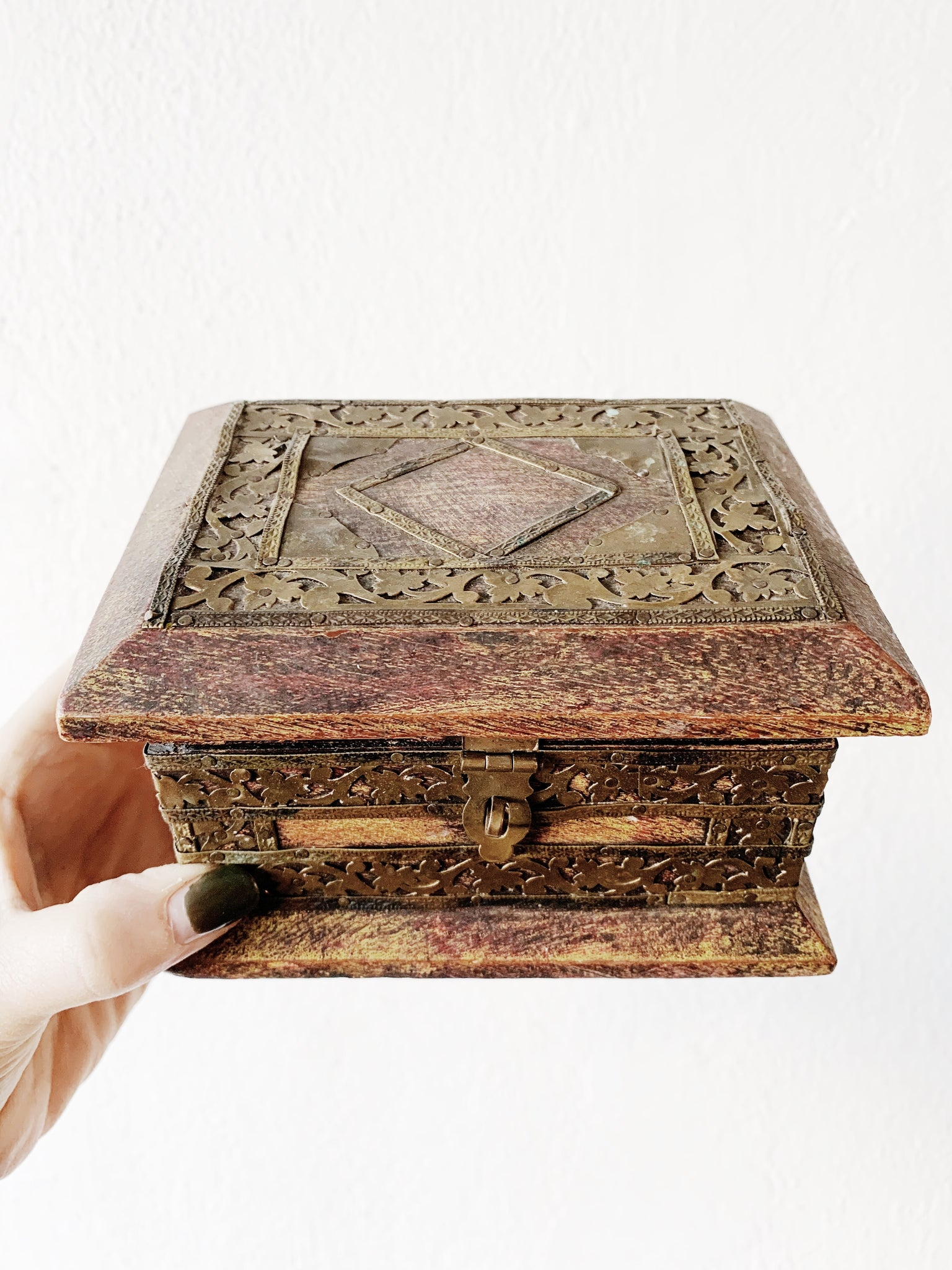 Antique Carved Wood With Brass Box