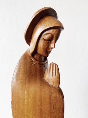 Large Mid Century Carved Wood Mary Magdalene