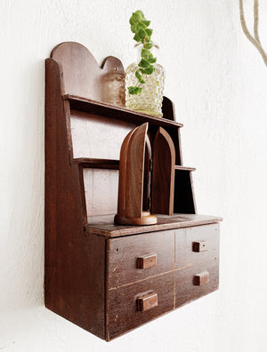 Antique Wood Shelf with Drawer