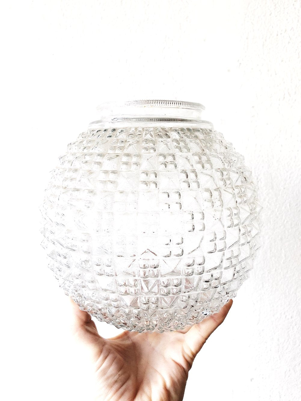 Vintage Cut Glass Globe Lamp Shade