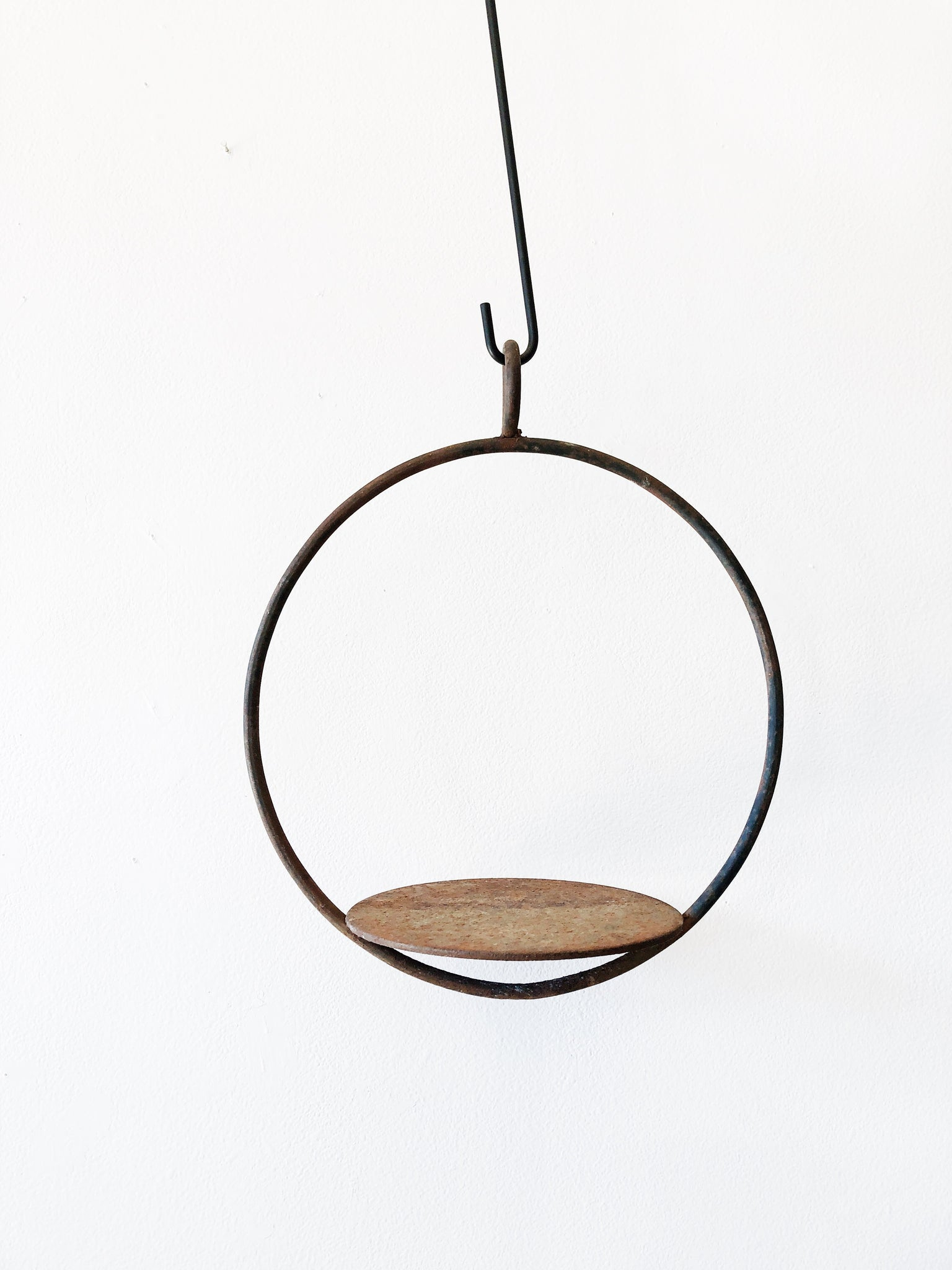 Vintage Cast Iron Circular Hanging Shelf