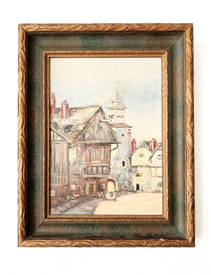 Antique Framed Village Painting
