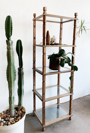Tall Vintage Wood and Glass Shelf