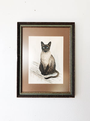 Vintage Feline Watercolor Lithograph