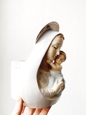 Vintage Ceramic Mary and Child Planter
