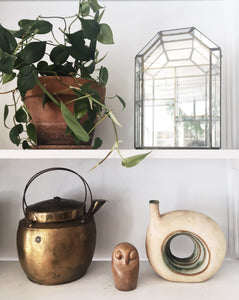 Vintage Glass and Brass Curio