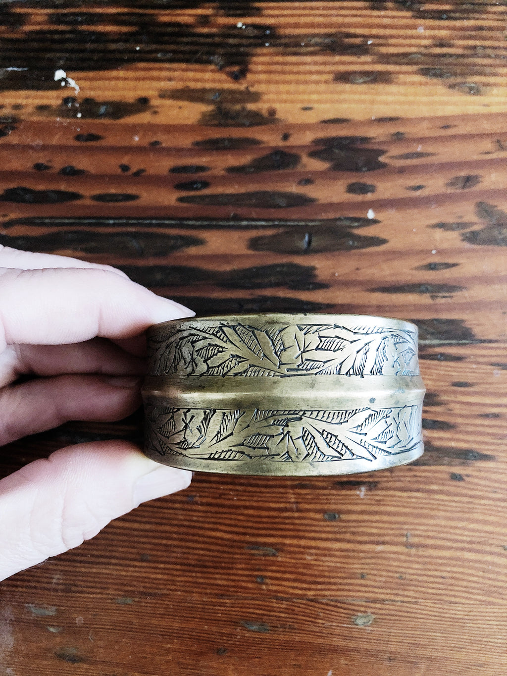 Vintage Incised Brass Cuff