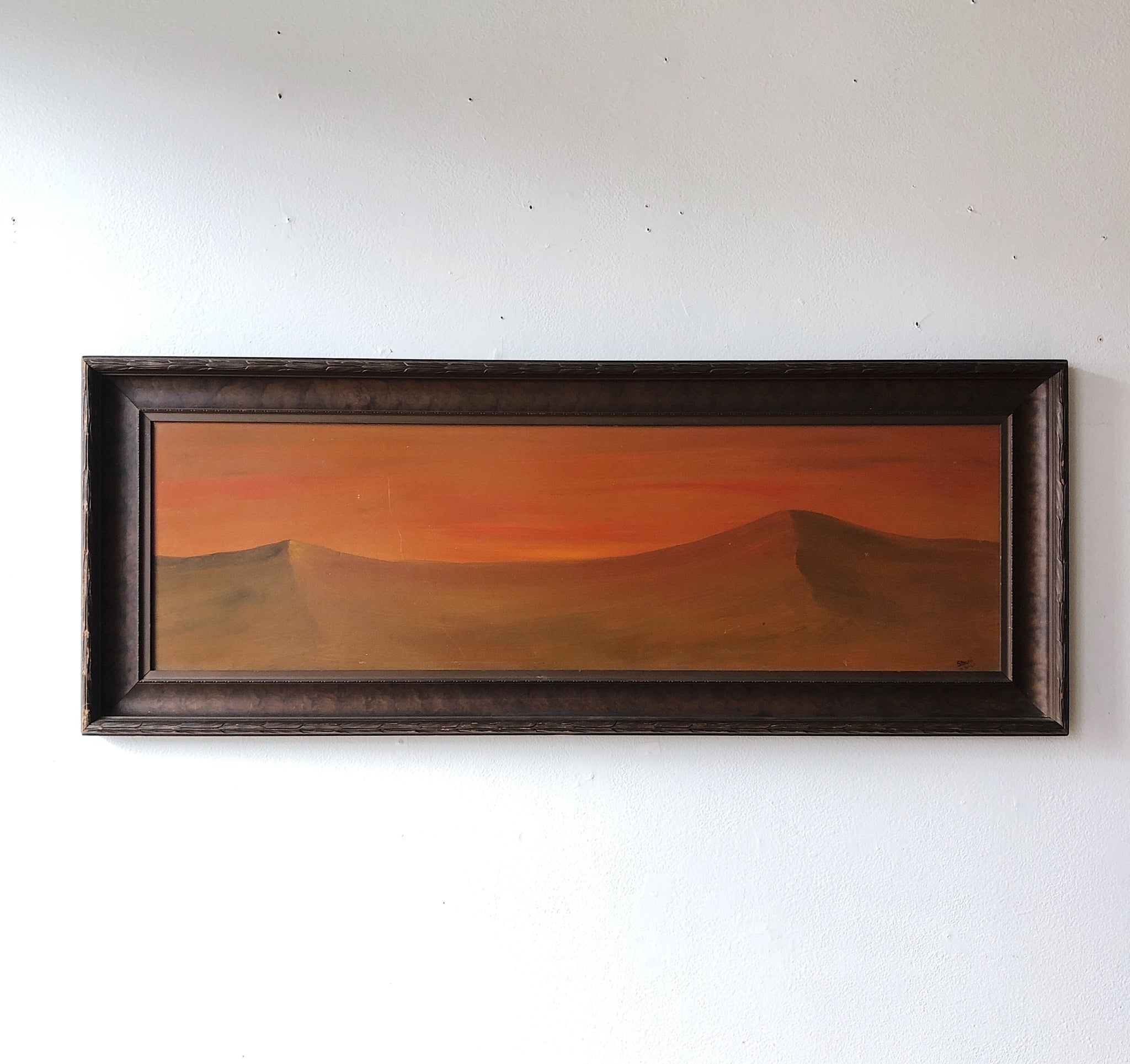 Large Vintage 1960s Desert Oil Painting