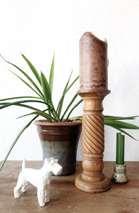 Large Turned Wood Pillar Candle Holder