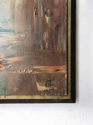 Vintage Mid Century Abstract Oil Painting