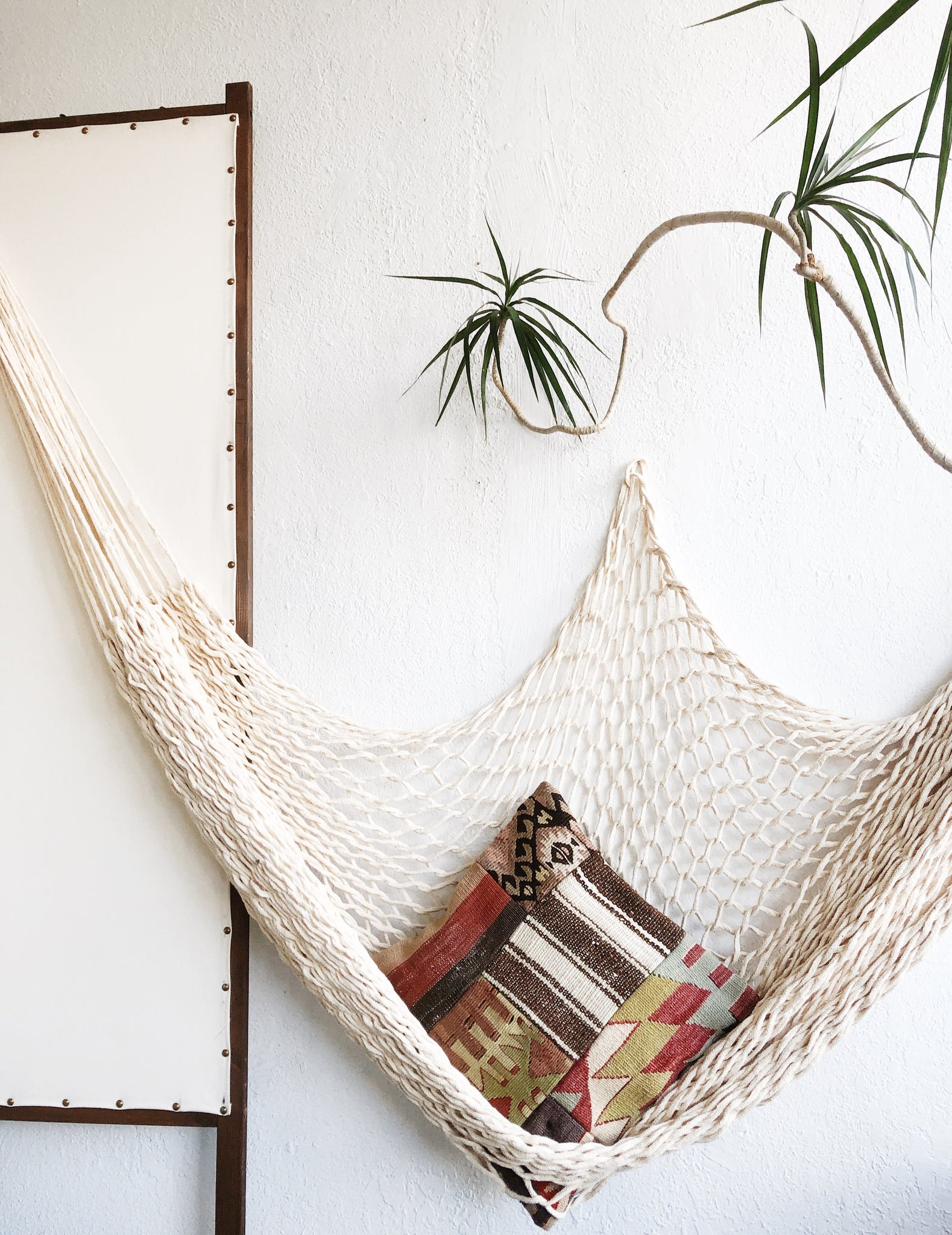 Vintage Cotton Rope Hammock and Pillow