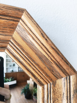 Vintage Oak Hex Mirror