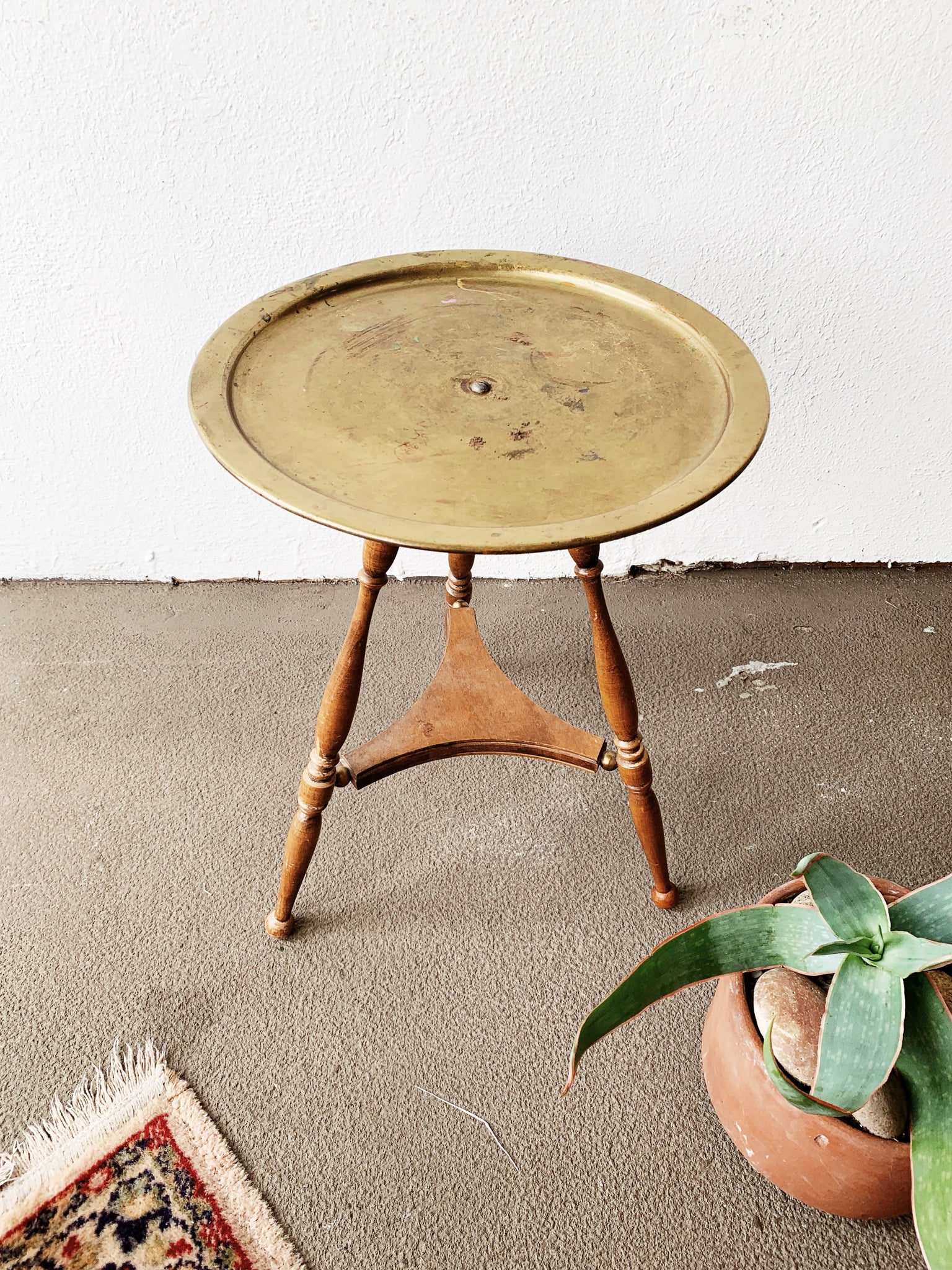 Vintage Wood and Brass Side Table /Stand