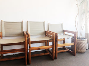Pair of Vintage Handmade Canvas Chairs