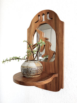 Vintage Wood Mirror Shelf