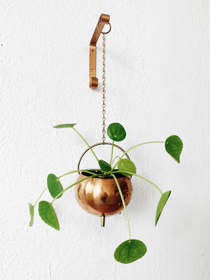 Vintage Hanging Copper Pot with Wall Bracket