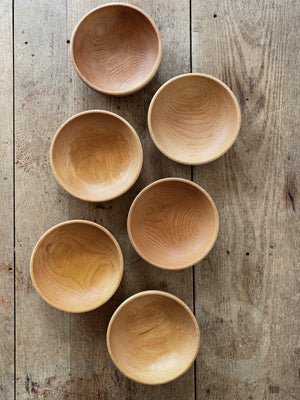 Set 6 Natural Wood Bowls