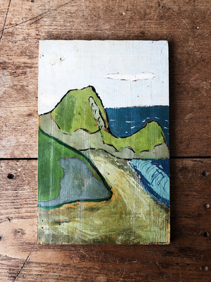 Vintage Folk Landscape Painting and Easel