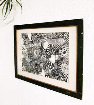 Original Abstract Framed Drawing