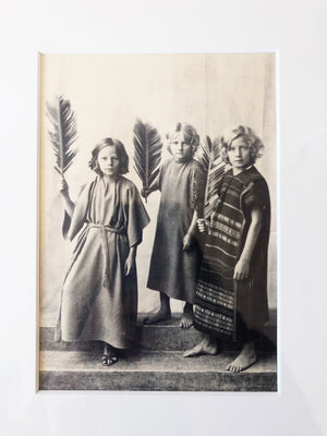 Antique Print of Three Children with Feathers