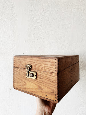 Vintage Wood Box with Brass Pop Lock