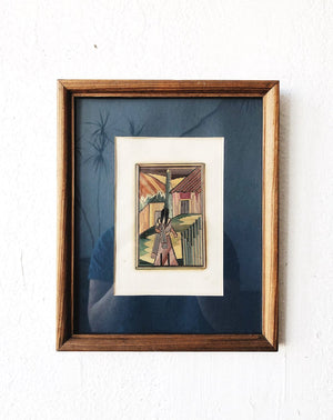 Vintage Straw Art Piece