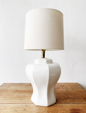 Vintage white Ceramic Lamp with Linen Shade